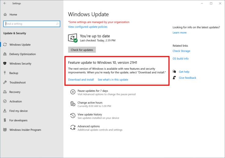 كيفية تثبيت تحديث Windows 10 v21H1