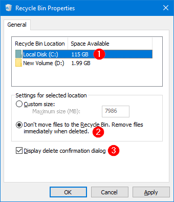 not move deleted files to recycle bin