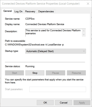 general tab on connected device platform window